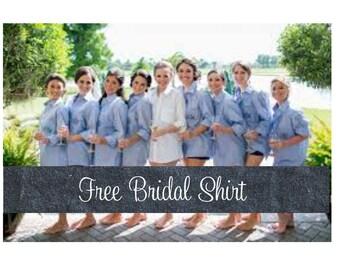 Set of 9 Embroidered Bridesmaid Shirts-Brides Shirt-Button Down Shirts-Monogrammed-Bridesmaid Shirt-Bridesmaid Oxford Shirts