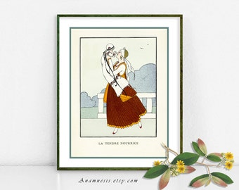 NANNY - digital download - printable antique French illustration for framing, totes, pillows, nursery art, clothes etc. - wall decor