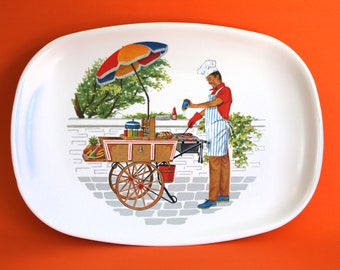 BBQ Hotdog Stand Grilling Chef Platters & Plates - Vintage Retro Barbecue Man Cooking Serving Picnic Outdoors - Made in Australia