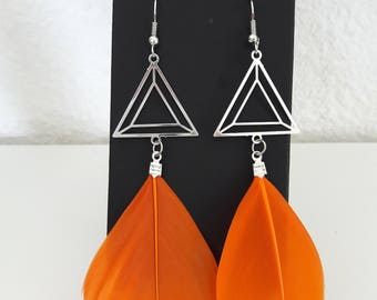 Triangle and orange feather earrings
