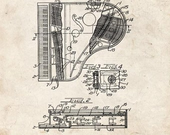 CLEARANCE - Grand Piano Patent Print - 24x30 Old Look