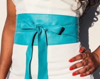 Turquoise Belt | Turquoise Leather Obi Belt  | Sash belt | Corset Belt | Bridal Sash Belt | Obi Belt | Plus Size Accessory | Wrap Tie belt