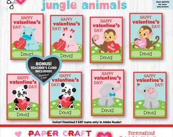 Jungle Animal Valentine Cards | Printable Classroom Valentines | Classroom Exchange Cards | By Paper Craft Valentines