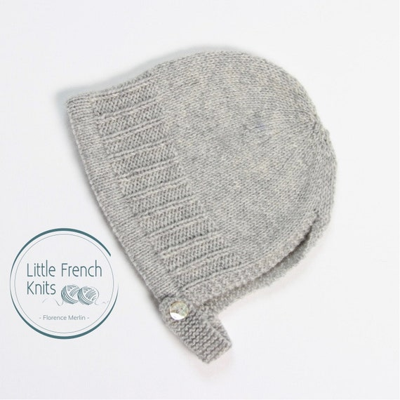 42 / Baby Bonnet / Knitting Pattern Instructions in French / PDF Instant Download / 4 Sizes : Newborn to 24 months
