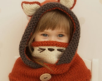 Hooded cowl Fox Rene - PDF knitting pattern - in baby, toddler, child and adult sizes