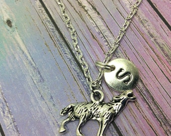 Wolf charm necklace, Howling wolf pendant, Personalised Jewelry, wolf jewelry, jewellery, Initial necklace, wolf charm,