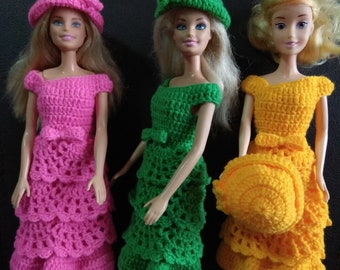 Doll dress, doll hat. Barbie clothes.