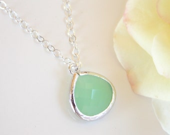 Wedding Jewelry, Light Green Necklace, Green, Pistachio, Soft Green, Mint Green, Sterling Silver, Bridesmaid Gift, Weddings Gifts, Pendant