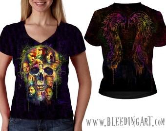 Walking Dead Skull Ladies V-Neck