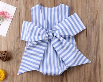 Candy stripe bow romper