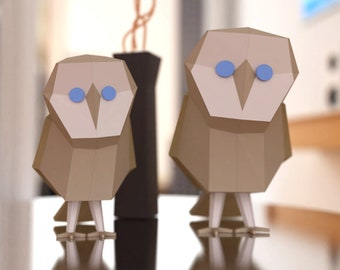 Owls - 3D Papercraft Low Poly Bird Wall Sculpture - Includes Branch - PDF Download, Print and Build Your Own - Paper Sculptures DIY