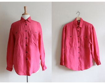 Vintage 1980s Hot Pink Silk Slouchy Button Down Top