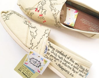 Custom world map shoes - gift for traveler - handpainted toms - gift for explorer - moving away gift - home away from home - custom shoes