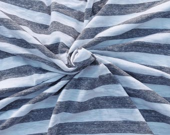 NEW White Heather Gray Stripe Fabric Cotton Tri Blend Jersey Knit by the Yard 6/16