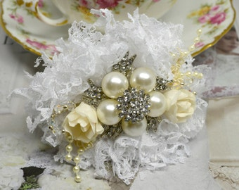 Brooch Wrist Corsage - Ivory and White (Made to Order)