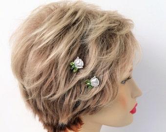 Rose bobby pins, White Roses, Set of 2
