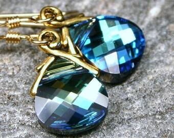 Teal and Gold Earrings Roadrunner Swarovski Green Blue Flat Briolette Crystal on 14K Fill Handmade Women's Jewelry Gifts Under 25 Azure Aqua