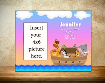 Personalized Baby Photo Frame, Personalized Children's Frame, Noah's Ark Frame