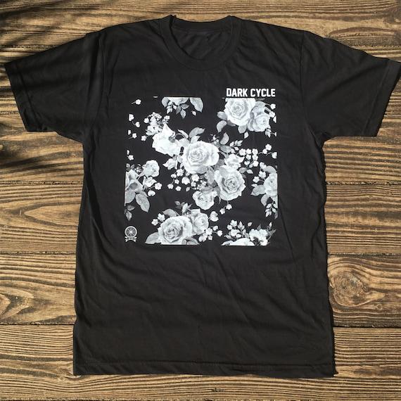dark cycle logo tee graphic floral design