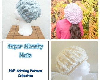 DIGITAL Knitting PATTERNS HAT Collection - Super Slouchy Hats Tam Toque Beanie - Instant Download