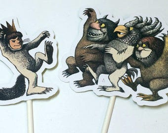 Digital Download Cupcake Toppers - Where the Wild Things Are,INSTANT DOWNLOAD,Cake Toppers,Printables,Wild Things Birthday,Wild Things