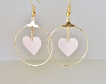 Creole earrings soft pink, powder pink leather heart