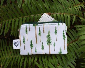 Redwood Forest Coin Purse, Zipper Pouch, Organizer