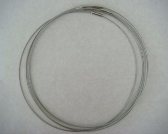 Coated silver coloured wire choker necklaces (5) - 16 inches