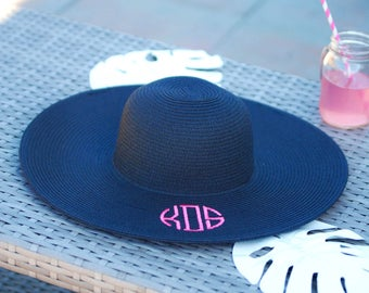 Monogrammed Floppy Hats, Monogram, Beach Hat, Bridesmaids, Bachelorette Party, Bride, Initials