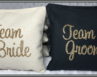 Team Bride Team Groom Cornhole Bags Wedding Set of 8 Cream and Black Gold Glitter Heat Transfer Vinyl