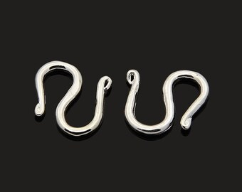 S 11mm silver plated brass hooks clasps