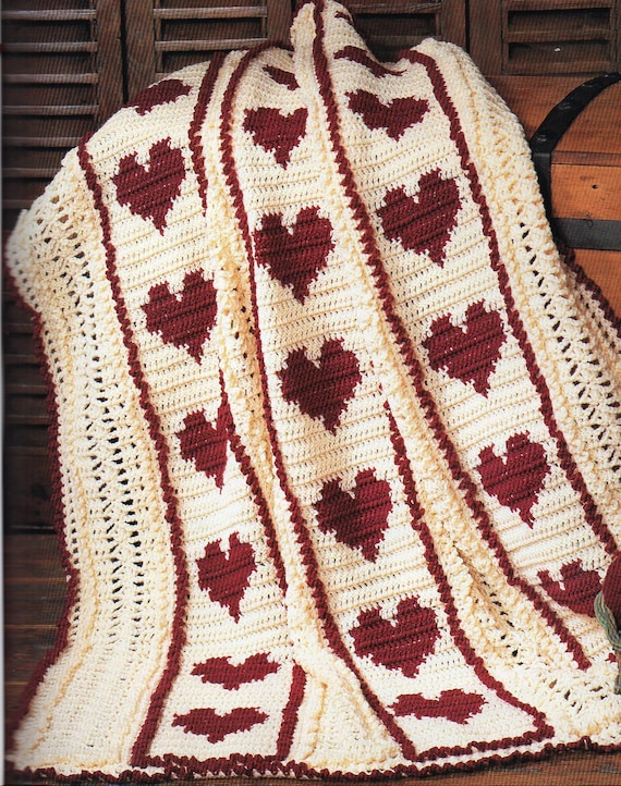 Red Hearts And Stripes Afghan Crochet Pattern Hearts Afghan