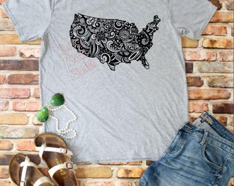 SOFT SHIRT - USA T-shirt - Zentangle - Mandala - Vintage Feel - Lightweight - Mother's Day- 4th of July Shirt - Summer Shirt
