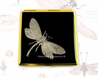 Dragonfly Square Compact Mirror Inlaid in Hand Painted Black Onyx Enamel Art Nouveau Inspired Custom Colors and Personalized Options