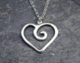 Spiral Heart Pewter Pendant
