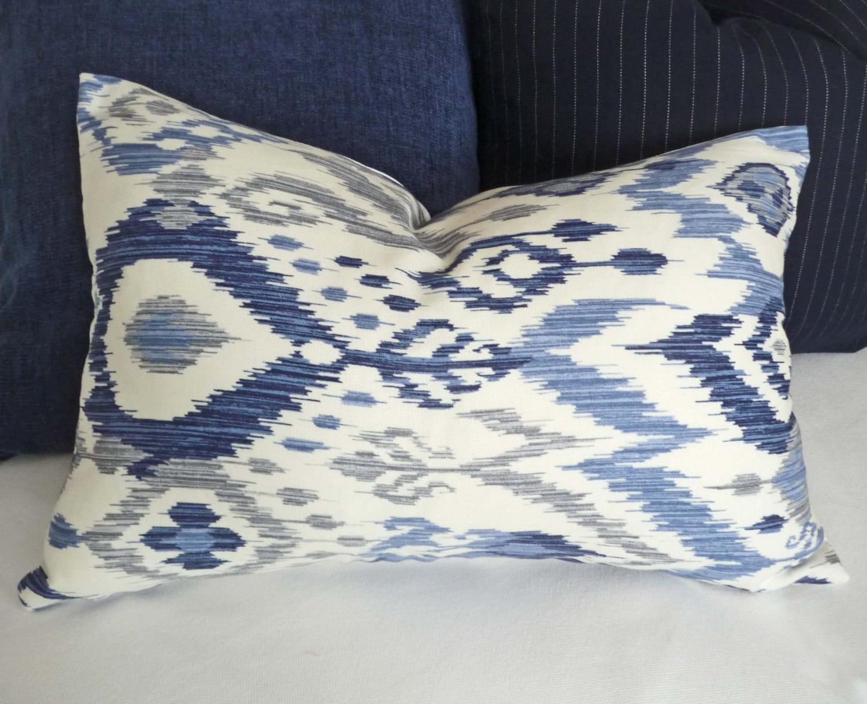 🔎zoom. blue ikat lumbar pillows blue decorative pillows blue white