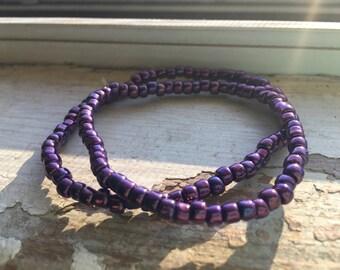 Purple Seed Bead Bracelet