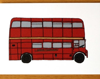 Routemaster, Red London Bus, Greeting Card, London Bus, Line Drawing, London Art, London Cards, Double Decker Bus, Note Cards