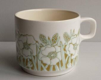 Vintage Hornsea teacup and saucer set   Fleur design   1970s