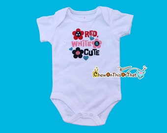 Red White and Cute Flower Short Sleeve Baby First Independence Day Statement Bodysuit - Fourth of July Photo Prop Onesie, Shirt