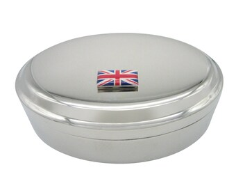 United Kingdom Union Jack Flag Pendant Oval Trinket Jewelry Box