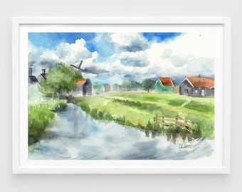 "Original watercolor,volendam village,Holland,Netherlands,landscape painting,countryside,7""x10"",home decor"