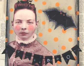 Original HALLOWEEN Collage Boo!  by Jenny ELkins