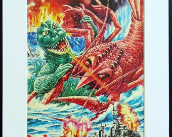 Japanese Monster KAIJU vintage print from 1960s, Godzilla and Ebirah, part of the Godzilla series