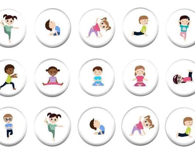 Yoga Refrigerator Magnets - Party Favor - Unique Gifts - Teacher resourses - Autism communication - Fridge magnets