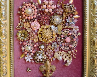 Jeweled Framed Jewelry Art Flower Bouquet Pink Gold Fabulous