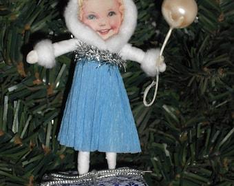 Vintage Style Spun cotton Ornament - Handmade