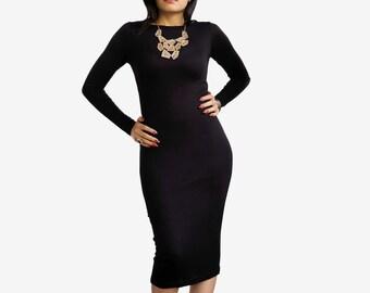 Womens Dress - Midi Dress - Long Pencil Dress - LBD Little Black Dress - Holiday Dress - Long Sleeve Dress - Boat Neck - Plus Size Dress