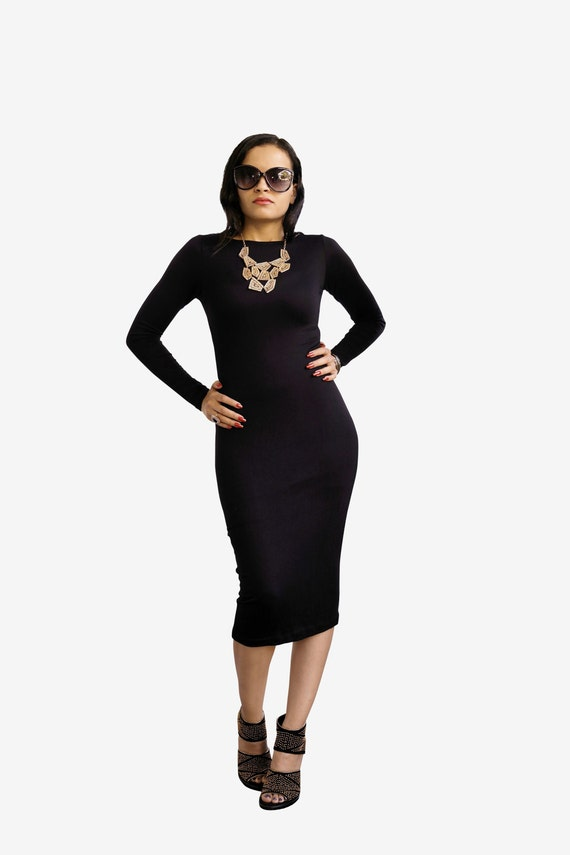 Womens Dress Midi Dress Long Pencil Dress Lbd Little