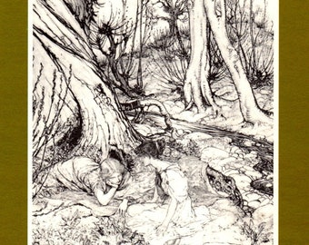 Arthur Rackham Print Hermia and Helena in the Forest from A Midsummer Night's Dream Play by William Shakespeare  Home Decor Wall Hanging